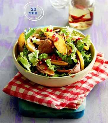 салат с жареной айвой и уткой