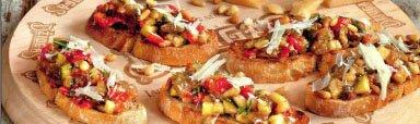 брускетта с печеными овощами